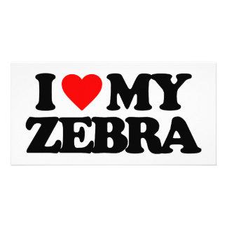 I LOVE MY ZEBRA PHOTO GREETING CARD