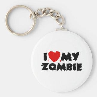I Love My Zombie Basic Round Button Key Ring
