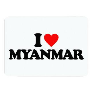 I LOVE MYANMAR 13 CM X 18 CM INVITATION CARD