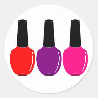 I Love Nail Polish Red Pink Purple Nail Polish Art Round Sticker