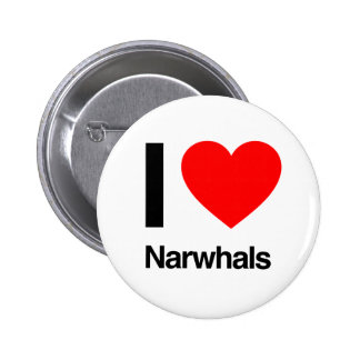 i love narwhals 6 cm round badge