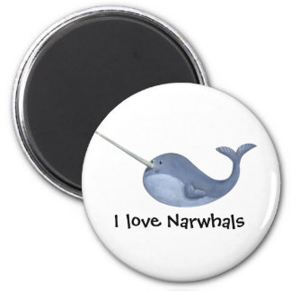 I love Narwhals 6 Cm Round Magnet