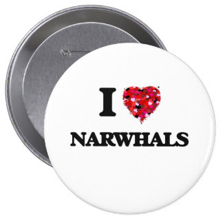 I love Narwhals 10 Cm Round Badge
