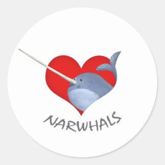 I love Narwhals Classic Round Sticker