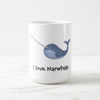 I love Narwhals -custom text - Basic White Mug