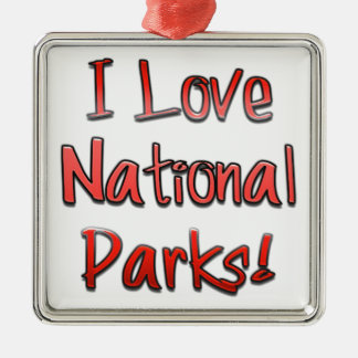 I love National Parks Silver-Colored Square Decoration