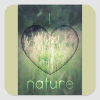 I Love Nature Green Grass Heart Stickers