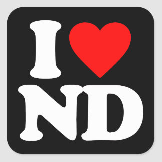 I LOVE ND SQUARE STICKERS
