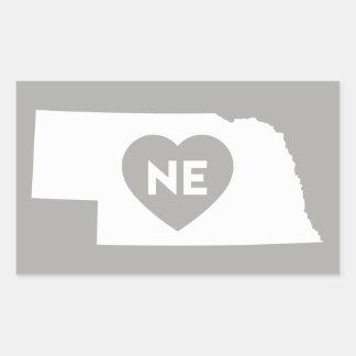 I Love Nebraska State Rectangle Stickers
