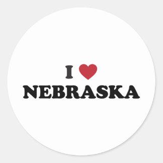 I Love Nebraska Round Sticker