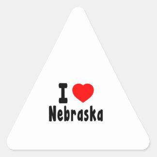I Love Nebraska Triangle Stickers