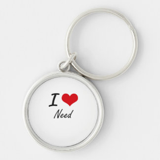 I Love Need Silver-Colored Round Key Ring