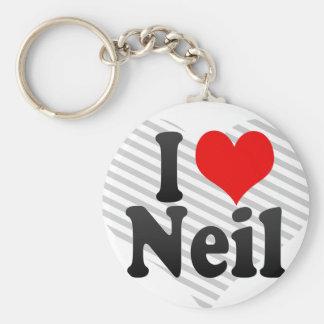I love Neil Basic Round Button Key Ring
