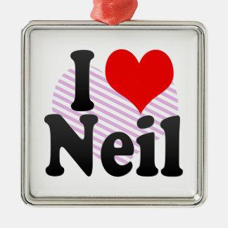 I love Neil Silver-Colored Square Decoration