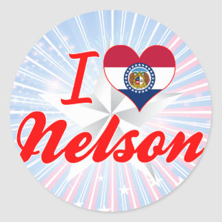 I Love Nelson Missouri Round Stickers