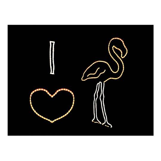 I Love Neon Flamingos Postcard