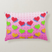 I Love Neon Hearts pattern Decorative Cushion