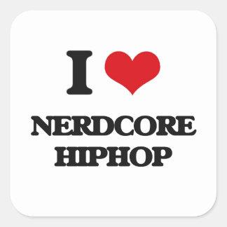 I Love NERDCORE HIPHOP Square Stickers