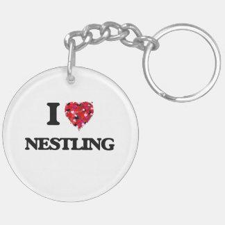 I Love Nestling Double-Sided Round Acrylic Key Ring