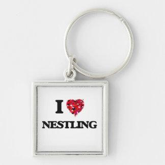 I Love Nestling Silver-Colored Square Key Ring