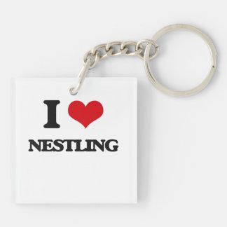 I Love Nestling Double-Sided Square Acrylic Key Ring
