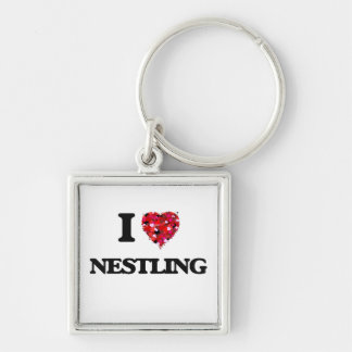 I Love Nestling Silver-Colored Square Key Ring
