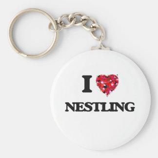 I Love Nestling Basic Round Button Key Ring