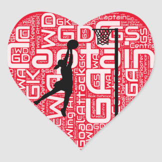 I Love Netball Design Heart Sticker