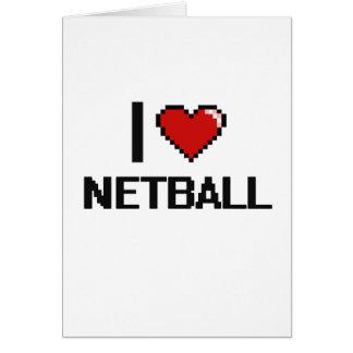 I Love Netball Digital Retro Design Greeting Card