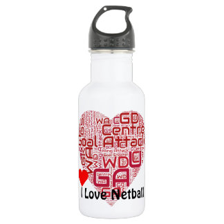 I Love Netball Goal Attack Word Art 532 Ml Water Bottle