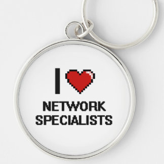 I love Network Specialists Silver-Colored Round Keychain