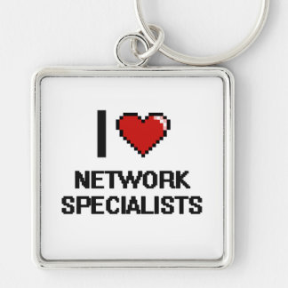 I love Network Specialists Silver-Colored Square Key Ring