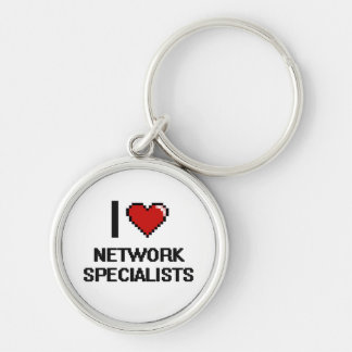 I love Network Specialists Silver-Colored Round Key Ring