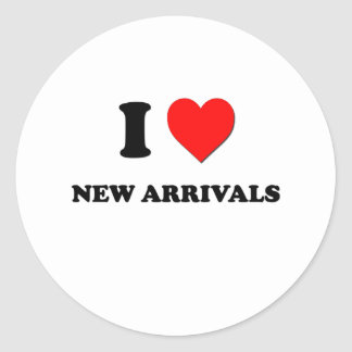 I Love New Arrivals Stickers