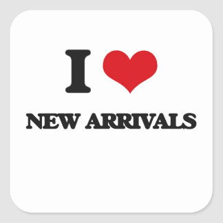 I Love New Arrivals Square Stickers