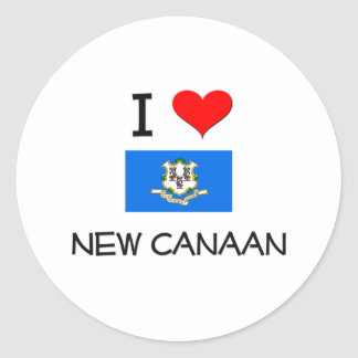 I Love New Canaan Connecticut Round Sticker