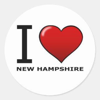 I LOVE NEW HAMPSHIRE ROUND STICKER