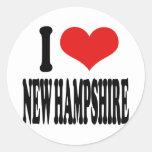 I Love New Hampshire Round Stickers