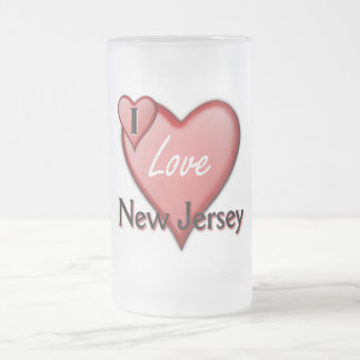 I Love New Jersey Frosted Glass Mug