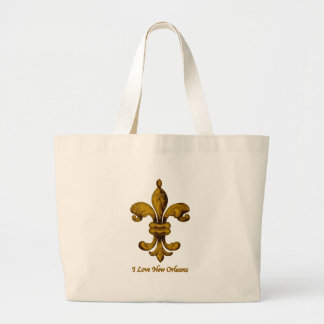 I love New Orleans gold fleur de lis Jumbo Tote Bag