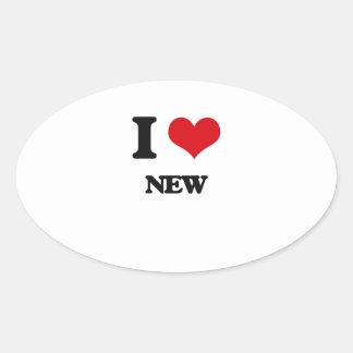 I Love New Oval Sticker