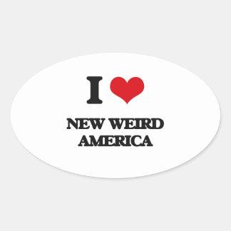 I Love NEW WEIRD AMERICA Oval Sticker