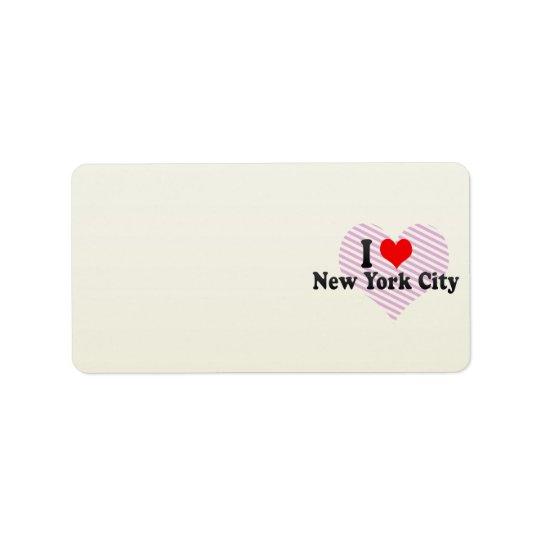 I Love New York City, United States Address Label