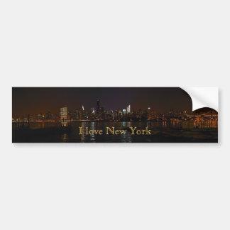 """I love New York"" Night Skyline bumper sticker Car Bumper Sticker"