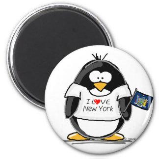 I Love New York Penguin 6 Cm Round Magnet