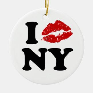 I Love New York | Red Lipstick Kissing Lips xxx Christmas Ornament