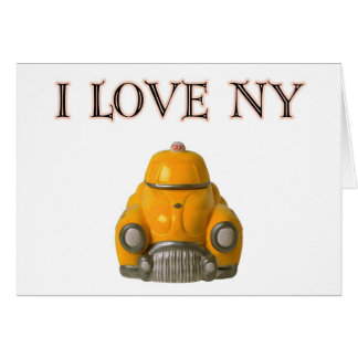 I Love New York Yellow Checkered Taxi Cab Card