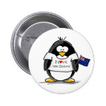 I Love New Zealand Penguin Buttons