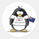 I Love New Zealand Penguin Classic Round Sticker