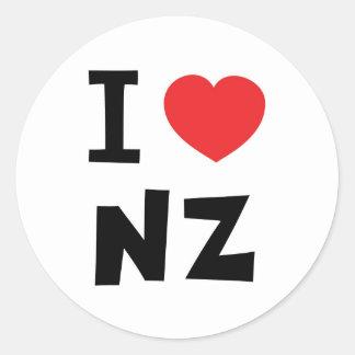 I love new zealand round sticker